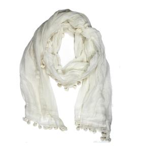 white pom pom scarf